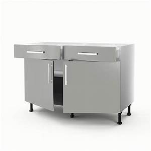 meuble de cuisine bas gris 2 portes 2 tiroirs delice h With exceptional meuble cuisine bas 120 cm 7 meuble bas 120 cm 2 portes 2 tiroirs