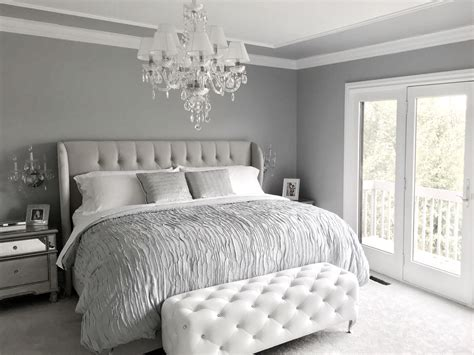 glam bedroom set glamorous grey bedroom decor grey tufted headboard