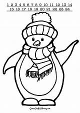 Penguin Penguins Scarf Printable Printables Coloring Christmas Crafts Games A4 sketch template