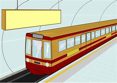 Subway Station Illustration Train Vector Standing Electric