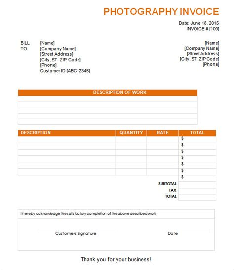 photography invoice 8 photography invoice sles exles templates