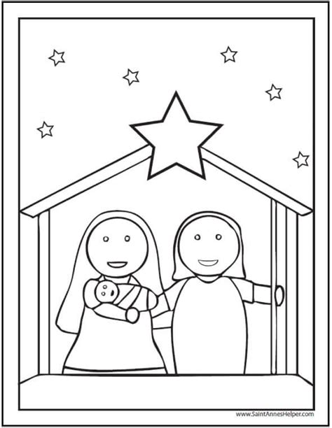 15 printable coloring pages jesus amp 155 | preschool nativity scene with star coloring page