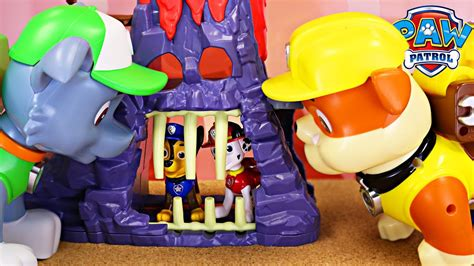 Paw Patrol Pups Caged By Giant Rocky And Giant Rubble