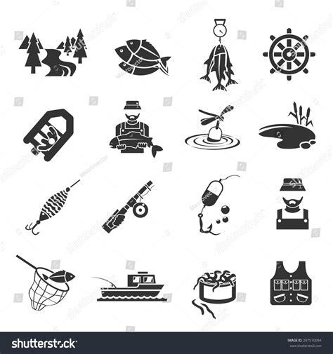 Fisherman S Friend Resume Dansk by Set Fish Fisher Hobby Leisure Icons Stock Vector 207510094