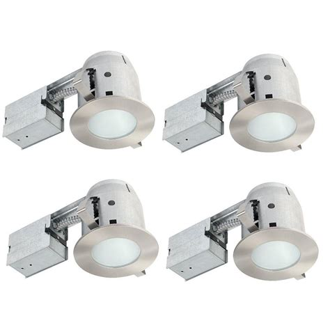 shower rated recessed lights globe electric 4 in brushed nickel ic rated bathroom