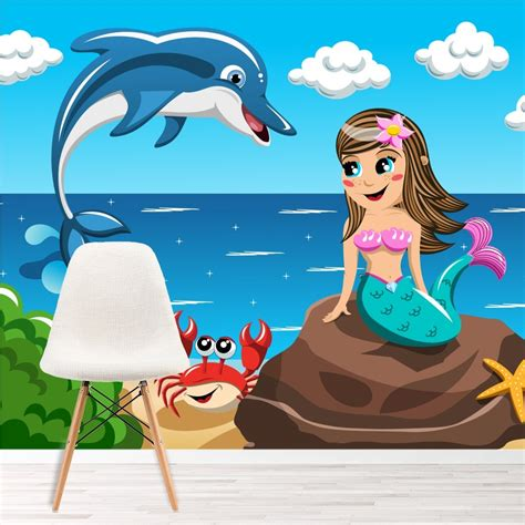 mermaid dolphin wall mural fairytale photo wallpaper