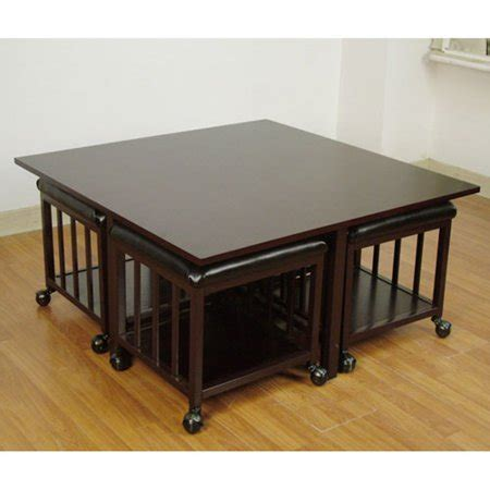 Shop for coffee table ottomans in ottomans. HomePop Square Coffee Table With Pull-Out Ottomans, Black - Walmart.com