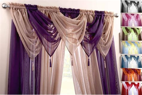 Ebay Curtains With Pelmets Ready Made by Plain Voile Swag Curtain Decorative Drapes Ready Made In