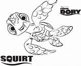 Nemo Finding Coloring Squirt Disney Printable sketch template
