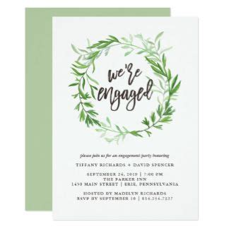 Green Botanical Leaves Wreath Engagement Party Invitation