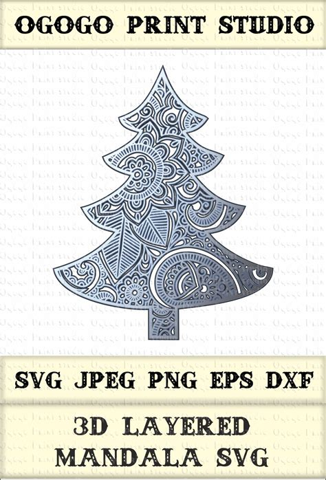 Your content is now stored within your company organization. 3D Layered Mandala SVG, Christmas tree Svg, Zentangle Svg ...