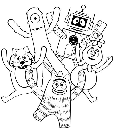 yo gabba gabba coloring pages birthday printable