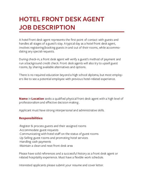 front desk agent job duties front desk agent job description resume hostgarcia