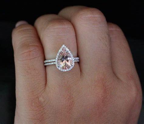 morganite engagement ring pear morganite wedding ring set
