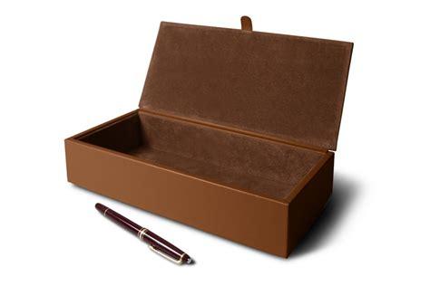 cognac bureau boîte de rangement rectangulaire cognac cuir lisse