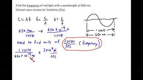 how to measure wavelength of light find the frequency of light given its wavelength youtube