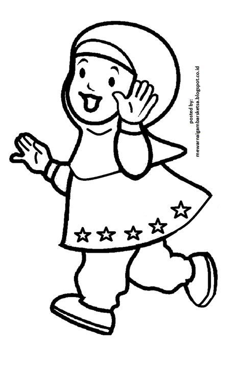 mewarnai gambar mewarnai gambar sketsa kartun anak muslimah 3