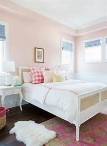 Pink Girl Bedroom With Bone Inlay Nightstands