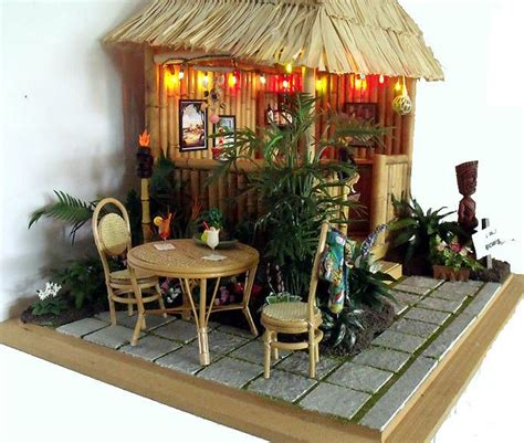 Small Tiki Hut by Miniature Hawaiian Tiki Bar Hut Room Box