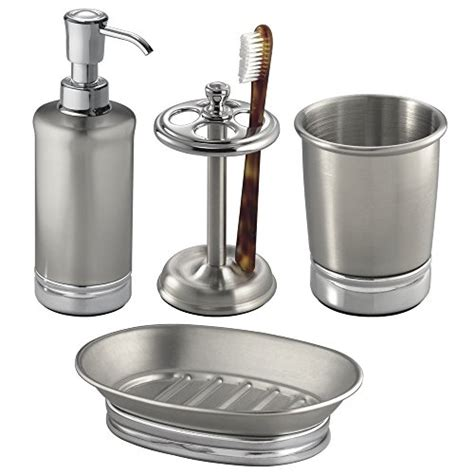 Decorative Toothbrush Holder And Soap Mdesign 4 Bathroom Vanity Stainless Steel And Chome
