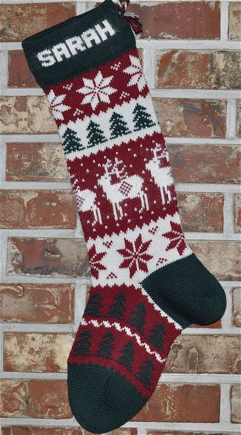 angora reindeer knit christmas stocking