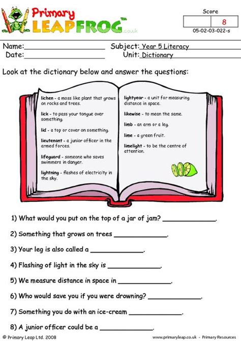 literacy dictionary abbreviations  worksheet