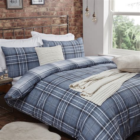 denim duvet cover mckinlay flannelette check denim duvet cover and