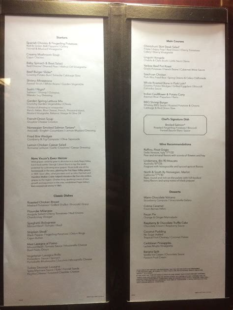 deck bahamas dinner menu 17 best images about gem cruise ship on