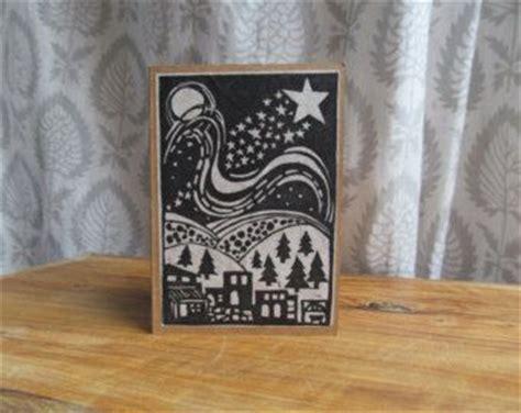bethlehem black  white lino print christmas card