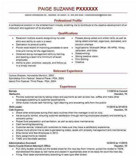 Playwriting Resume by Performing Arts Resume Exles Sles Livecareer