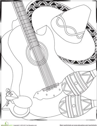 color the cinco de mayo instruments teaching pinterest