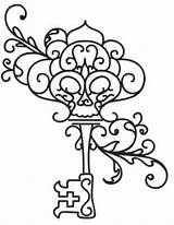 Key Coloring Skeleton Keys Pages Embroidery Drawing Outline Tattoo Giant Urbanthreads Designs Lock Drawings Animal Adult Awesome Steampunk Tattoos 1361 sketch template