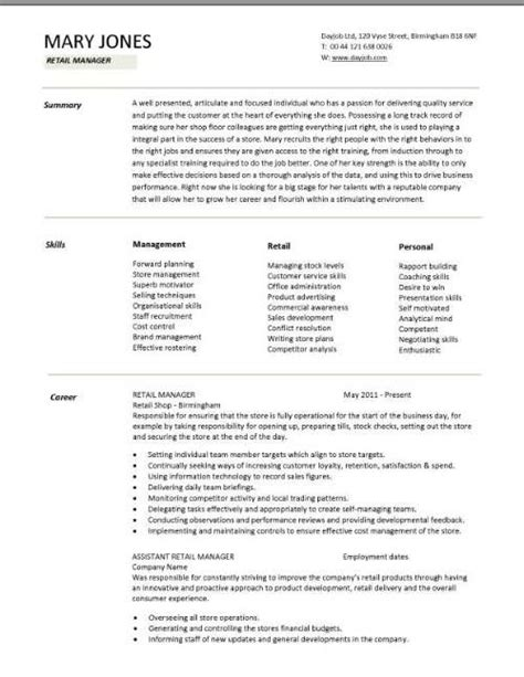 Retail Assistant Manager Resume Exles by Retail Cv Template Sales Environment Sales Assistant Cv