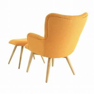 fauteuil repose pieds en polyester style scandinave jaune With nettoyage tapis avec canapé et fauteuil vintage