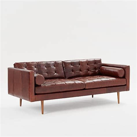 mid century leather sofa 80 quot west elm