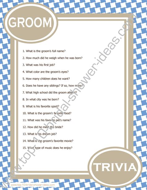 Trivia Questions For Bridal Shower by Groom Trivia A Printable Bridal Shower Game You Can