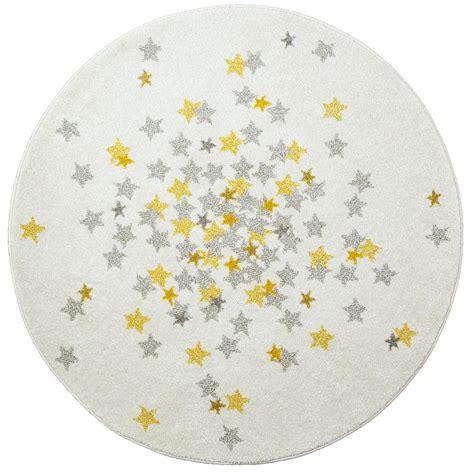 tapis nova rond etoiles grise  jaune chambre bebe par art  kids