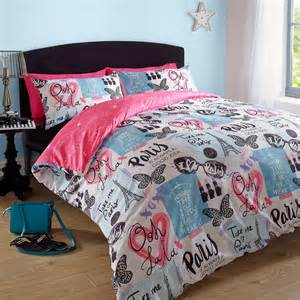 duvet cover with pillowcase eiffel tower pink blue retro quilt bedding set ebay