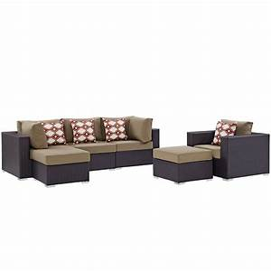 convene 6 piece outdoor patio sectional set espresso With canby 6 piece sectional sofa set coffee