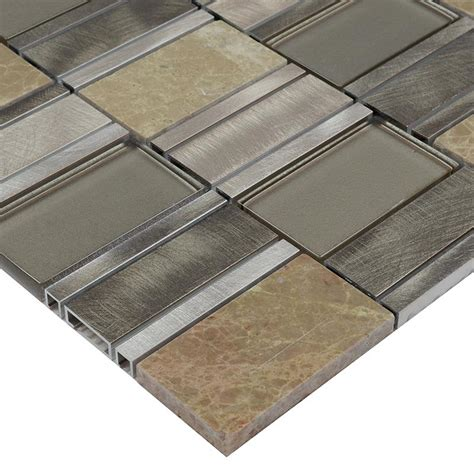 natual mosaic tiles brushed stainless steel marble