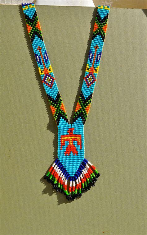 vintage native american bead necklace  fringe