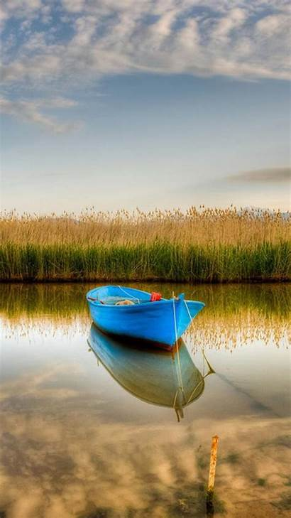 Nature Iphone Water Wallpapers Natural Calm Boat