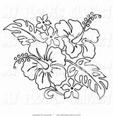 Hawaiian Lei Clipart Hibiscus Clip Coloring Pages Leis Flower Pencil sketch template