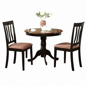 Black round kitchen table plus 2 dining room chairs 3 for Kitchen dining table