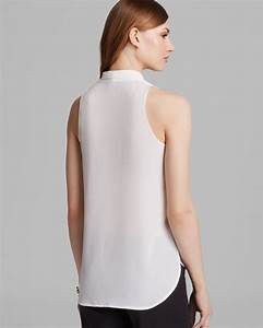 Farfetch Size Chart Lyst Vince Camuto Sleeveless V Neck Blouse In White