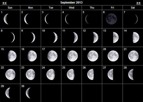 september  moon calendar moon phase calendar moon