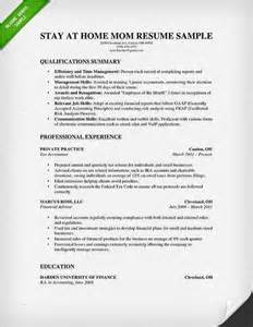 resume stay at home sle stay at home resume exles and stay at home on