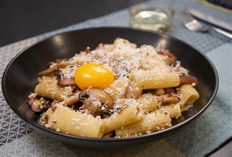 mushroom pasta  brown butter buckwheat egg yolk