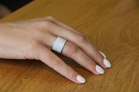 wide band ring  white gold wedding band  tcw
