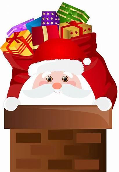Chimney Santa Clip Transparent Claus Clipart Cartoon